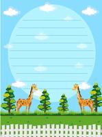 Modello di carta con giraffe in background
