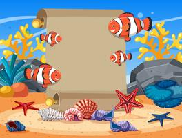 Plantilla de borde con pez payaso y estrellas de mar bajo el agua