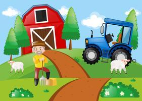 Gårdsplats med bonde på fältet