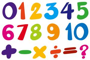 Font design for numbers and sign in colors