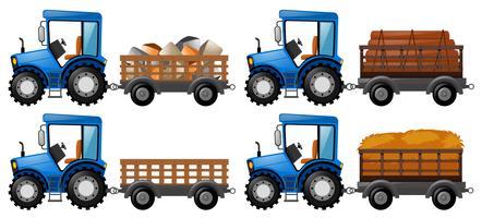 Tractor cargado con cuatro productos agrícolas.