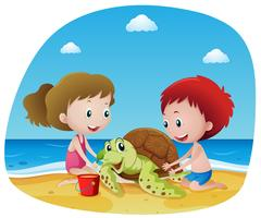 Children and sea turtle on the beach