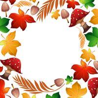Folha de outono e cogumelo modelo