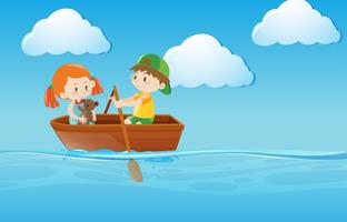 Bote de remos para niños en el río