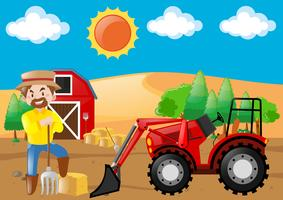 Farm scene with tractor and farmer