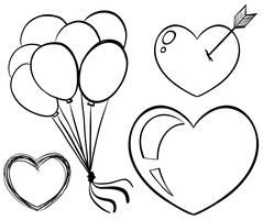 Doodle art for balloons and hearts
