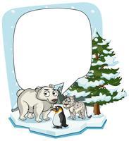 Plantilla de marco con animales en invierno.