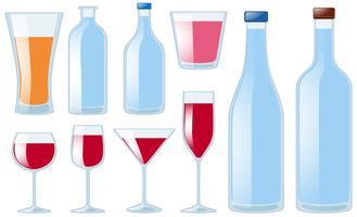 Diferentes tipos de copos e garrafas