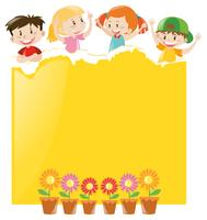 Paper design with children and yellow paper