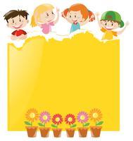 Diseño de papel con niños y papel amarillo.