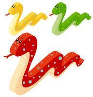 Tres serpientes en diseño 3D.