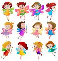 Différents personnages de fées volant