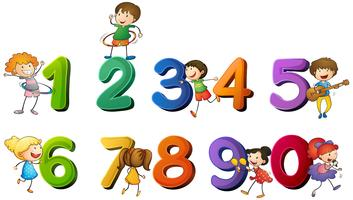 Los niños y los números del uno al cero.