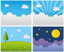 Vier verschiedene Hintergrundszenen