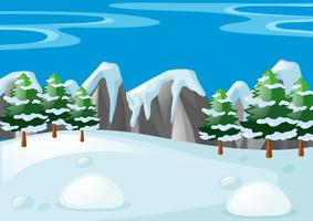 Scène met sneeuw ter plaatse