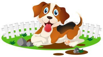 Kleine puppy in de modderige plas