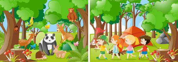 Two forest scenes with kids and wild animals