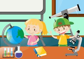 Happy students learning in classroom vector