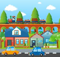 City scene with cars and train
