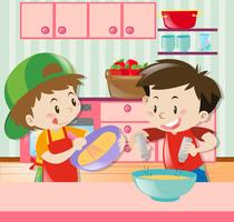 Two boys cooking in kitchen
