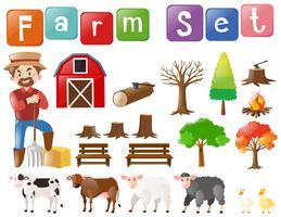 Fazenda conjunto com agricultor e outros elementos