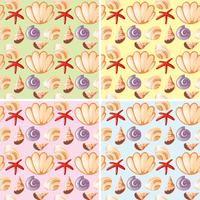 Seamless background design with seashells