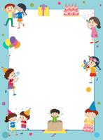 Border template with happy kids at party