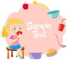 Diseño de marco con niña comiendo manzana en segundo plano