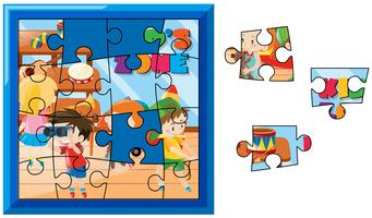 Jigsaw puzzle game with kids playing in the room