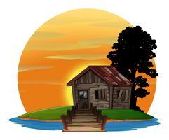 Houten huis op het eiland