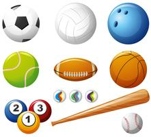 Different types of balls on white background