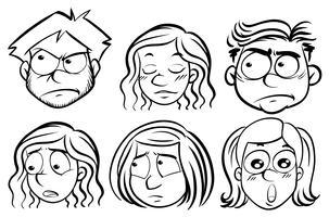 Seis pessoas com diferentes expressões
