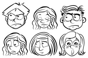 Six people with different expressions