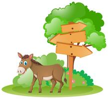 Wooden signs and donkey by the tree