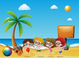Ocean scene with kids on the beach