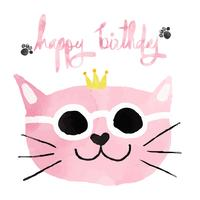 watercolour pink funny cat with crown happy birthday card
