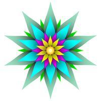 Ilustración de vector de flor geométrica simétrica hermosa