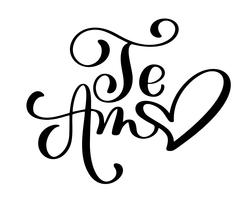 Te Amo love you Spanish text calligraphy vector lettering for Valentine card