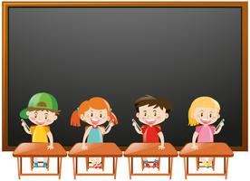 Blackboard background with kids in classroom