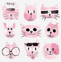 pink watercolour funny cat faces set