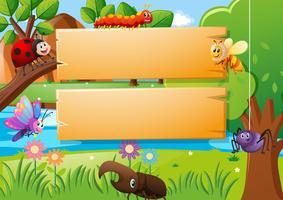 Planches de bois et différents types d'insectes