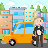 Businessman standing by yellow car