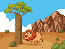 Lion debout sous l'arbre