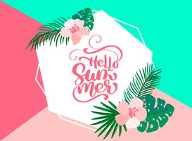 Text Hello summer in geometric floral exotic leaves frame