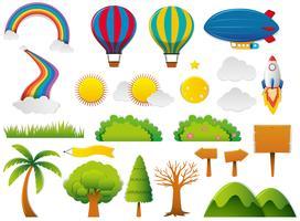 Elementos diferentes da natureza no conjunto
