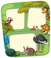 Plantilla de papel con animales salvajes.