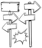 Différentes formes de signes sur les poteaux