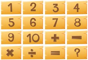 Numbers on wooden boards