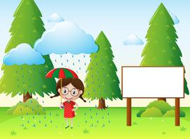 Scène de parc avec fille sous la pluie