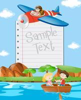 Plantilla de papel con niños en barco y avión.